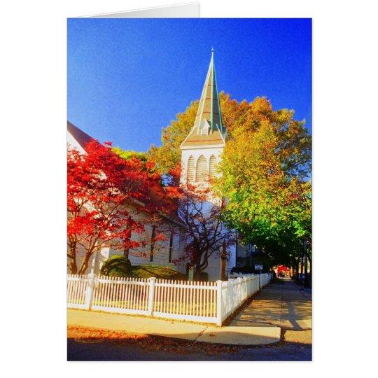 'Autumn Church' Blank Greeting Card