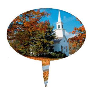 Autumn Church In Splendor New England Cake Topper