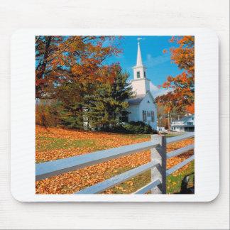 Autumn Church In Splendor New England Mouse Pad