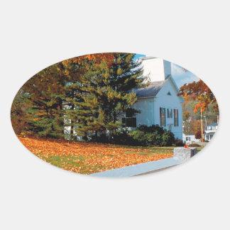 Autumn Church In Splendor New England Oval Sticker