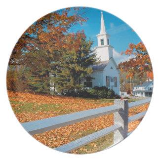 Autumn Church In Splendor New England Plate