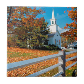 Autumn Church In Splendor New England Ceramic Tile