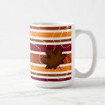 Autumn Coffee Mug - Quilted Leaf in Brown & Orange