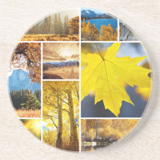 Autumn collage drink coaster