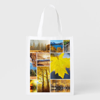 Autumn collage reusable grocery bag
