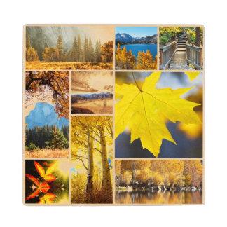 Autumn collage wood coaster