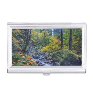 Autumn Color Along Starvation Creek Falls 2 Business Card Holder