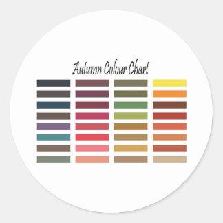 Autumn color chart classic round sticker