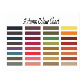 Autumn color chart postcard