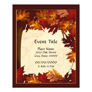 Autumn Color Leaves Tree Small Event Flyer