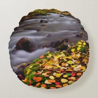 Autumn Colors along McGee Creek Round Cushion
