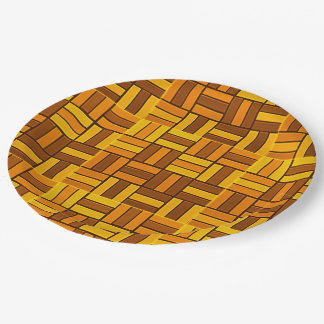 Autumn colors, ceramic-look tiled pattern 9 inch paper plate