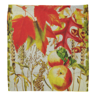 Autumn Colors Fall Leaves Fruit Harvest on Burlap Bandana