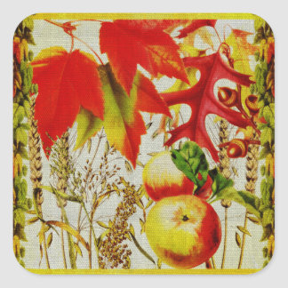Autumn Colors Fall Leaves Fruit Harvest on Burlap Square Sticker