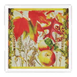 Autumn Colors Fall Leaves Fruits Grains on Burlap Acrylic Tray
