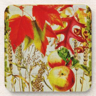 Autumn Colors Fall Leaves Fruits Grains on Burlap Coaster