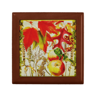 Autumn Colors Fall Leaves Fruits Grains on Burlap Gift Box
