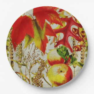 Autumn Colors Fall Leaves Fruits Grains on Burlap Paper Plate