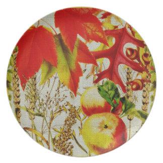 Autumn Colors Fall Leaves Fruits Grains on Burlap Plate