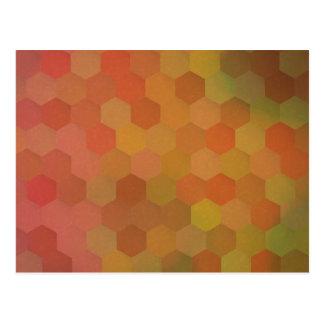 Autumn colors hexagonal vintage pattern postcard