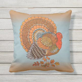 Autumn Colors Male Turkey Fanned Tail Leaves Cushion