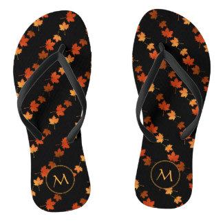 Autumn Colors Maple Leaves pattern monogrammed Flip Flops