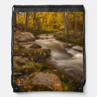Autumn colors on Crestone Creek Drawstring Bag