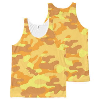 Autumn Colors Orange and Yellow Camouflage Print All-Over Print Tank Top