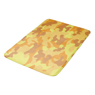 Autumn Colors Orange and Yellow Camouflage Print Bath Mat