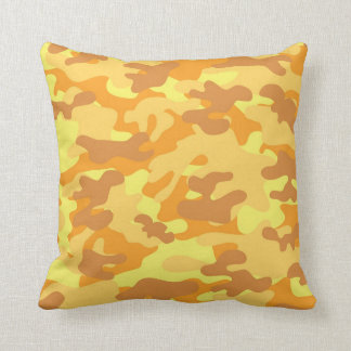 Autumn Colors Orange and Yellow Camouflage Print Cushion