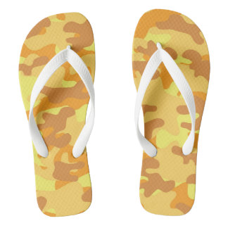 Autumn Colors Orange and Yellow Camouflage Print Flip Flops
