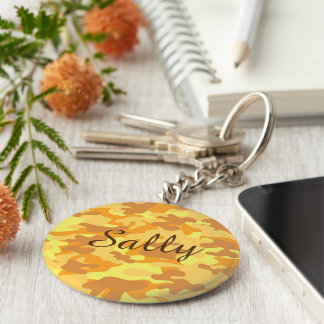 Autumn Colors Orange and Yellow Camouflage Print Key Ring