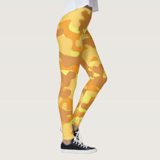 Autumn Colors Orange and Yellow Camouflage Print Leggings