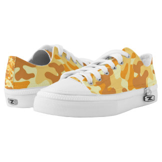 Autumn Colors Orange and Yellow Camouflage Print Low Tops