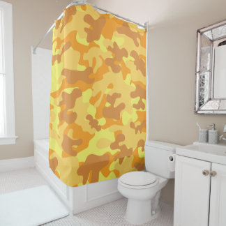 Autumn Colors Orange and Yellow Camouflage Print Shower Curtain