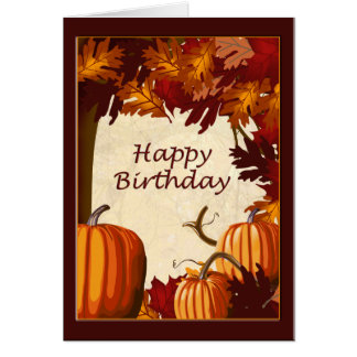 Autumn Colors Pumpkin Patch Happy Birthday Greeting Card