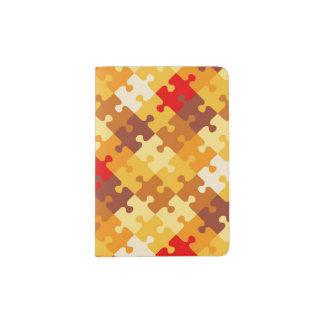 Autumn colors puzzle background passport holder