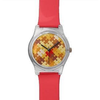 Autumn colors puzzle background wristwatch