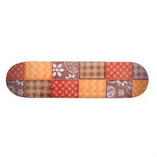 Autumn Colors Red Orange Brown Patchwork Skate Boards