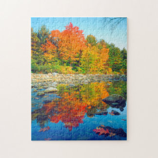 Autumn Colors reflecting in a stream in Vermont Jigsaw Puzzle
