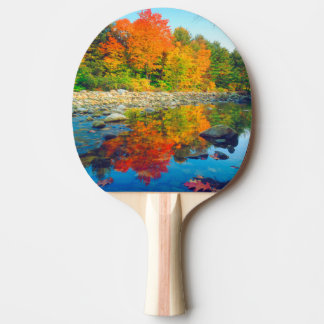 Autumn Colors reflecting in a stream in Vermont Ping Pong Paddle