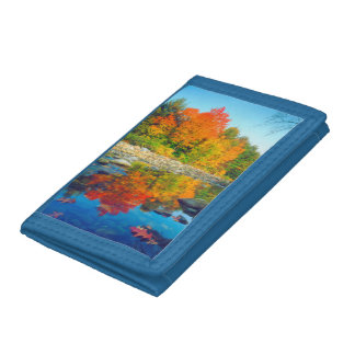 Autumn Colors reflecting in a stream in Vermont Trifold Wallets