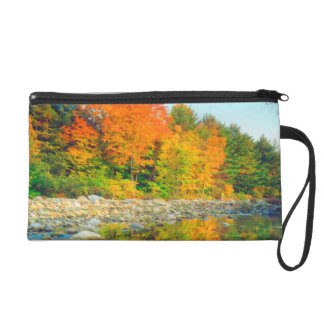 Autumn Colors reflecting in a stream in Vermont Wristlet