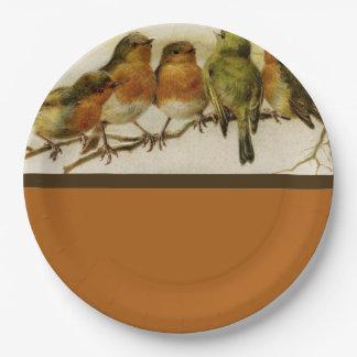 Autumn Colors Singing Birds Paper Plate