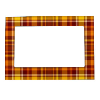 Autumn Colors Tartan Pattern Magnetic Photo Frames