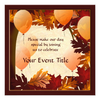 Autumn Colors Tree Leaves Custom Party Invite