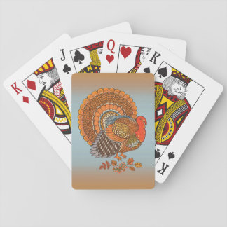Autumn Colors Turkey Leaves Thanksgiving Poker Deck