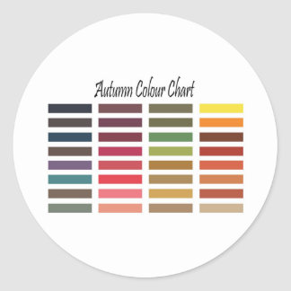 Autumn colour chart round sticker