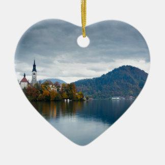 Autumn colours at Lake Bled Ceramic Heart Decoration