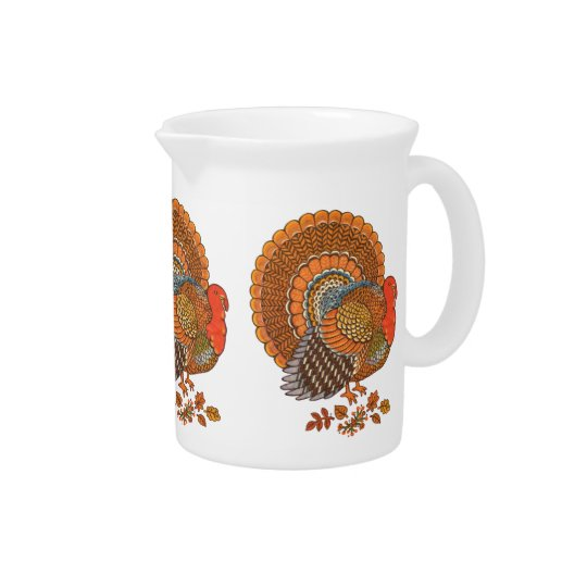 Autumn Colours Turkey Leaves Thanksgiving Pitcher
